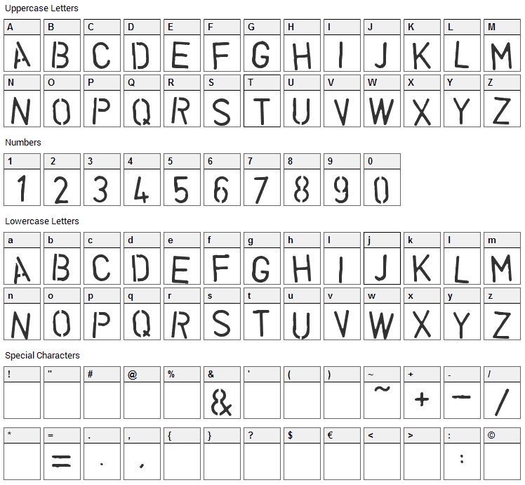 Vegetable Font Character Map