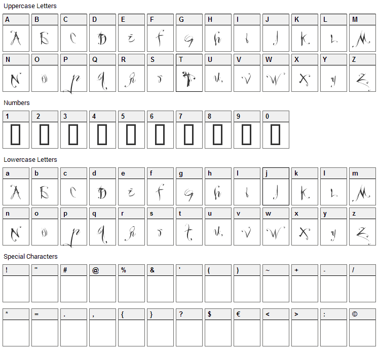Velour Font Character Map