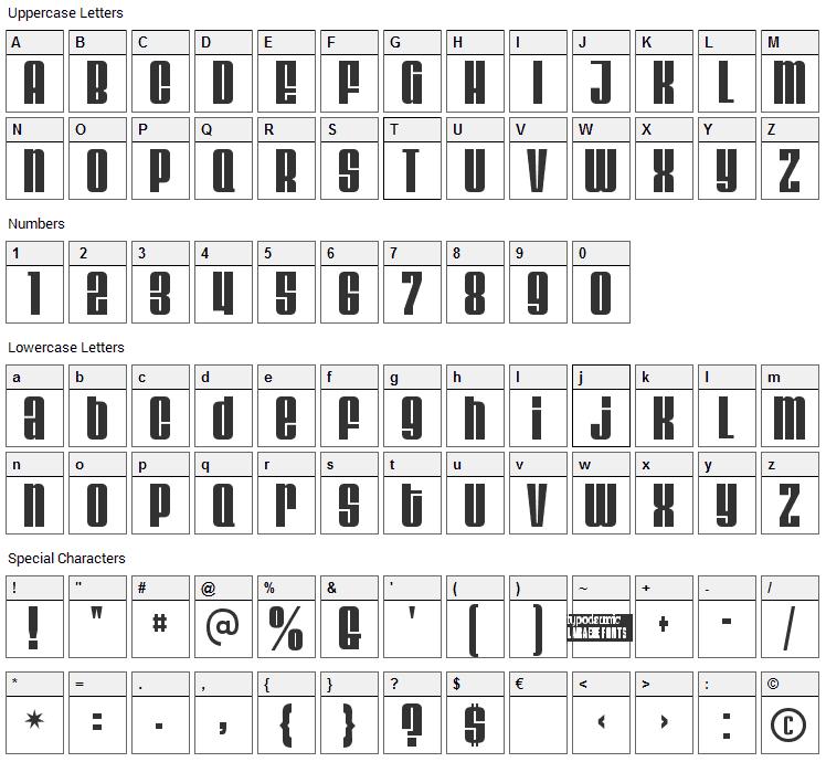 Velvenda Font Character Map