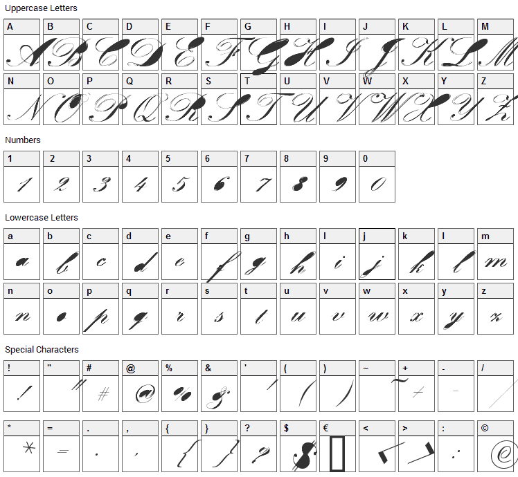 Velvet Font Character Map