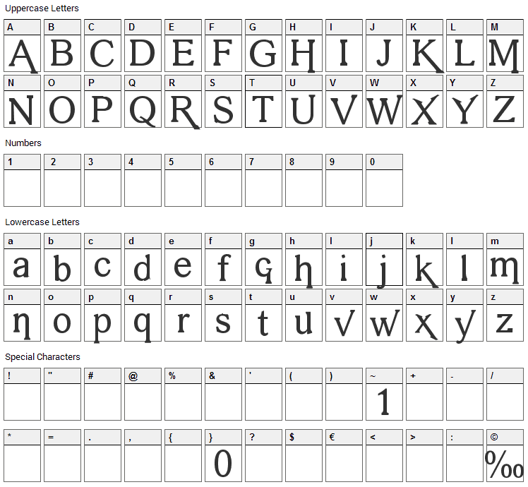 Vengeance Font Character Map