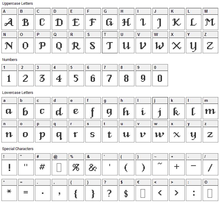 Venice Classic Font Character Map