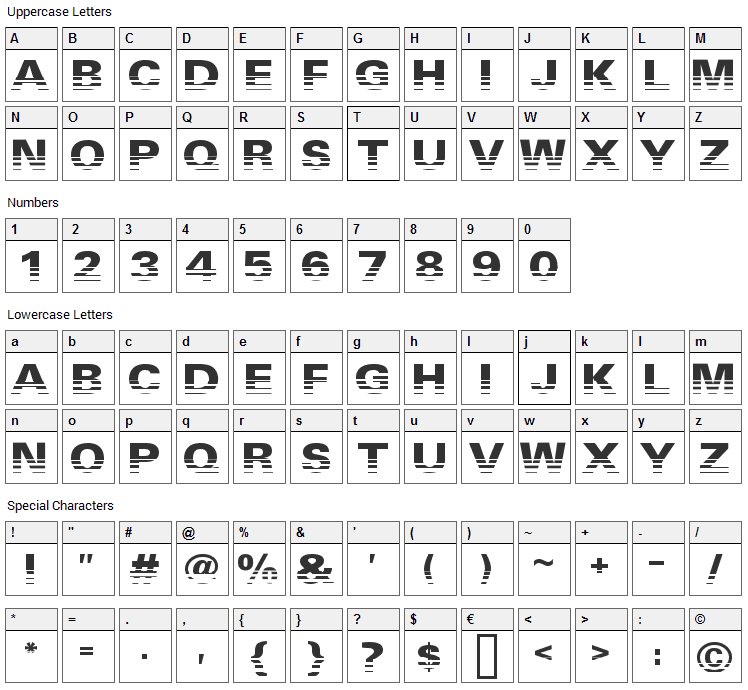 Ventilate Font Character Map