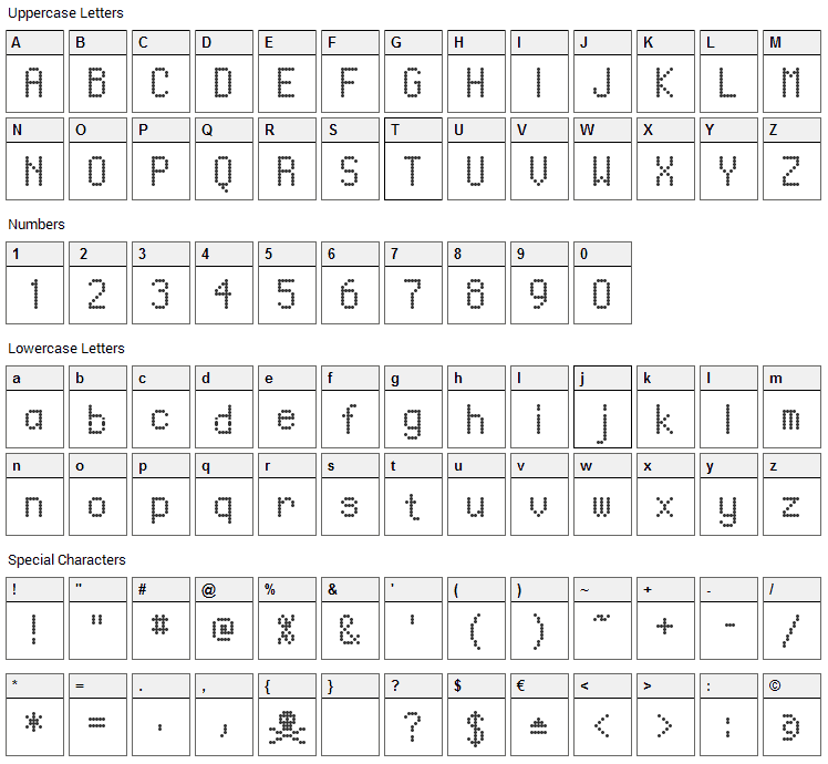 Ventouse Font Character Map