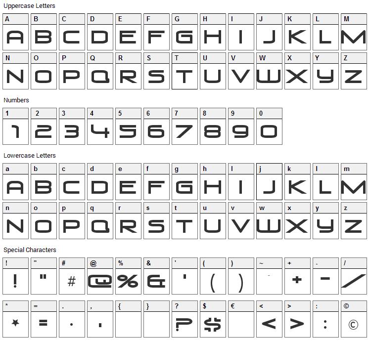 Venus Rising Font Character Map