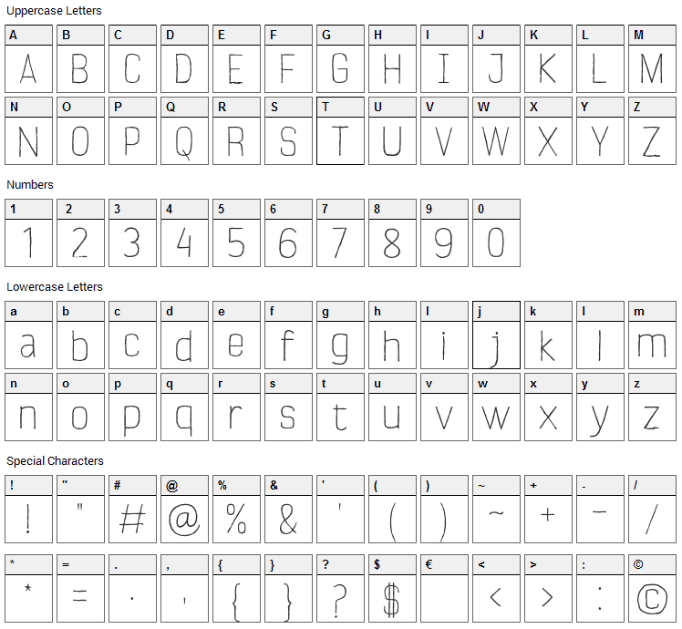 Verano Font Character Map