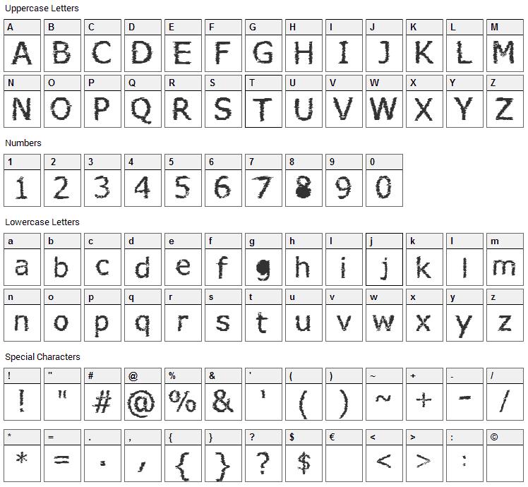 Verdana Hand Font Character Map