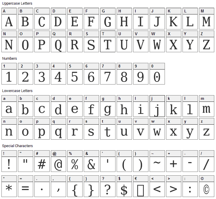 Verily Serif Mono Font Character Map