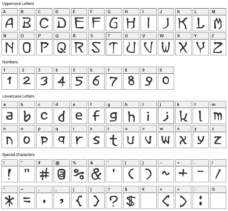Vermin Magic Font Character Map