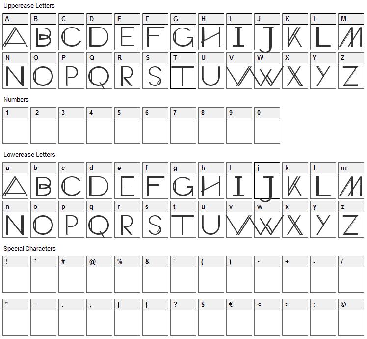 Veron Font Character Map