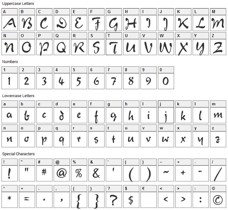 Verona Script Font Character Map