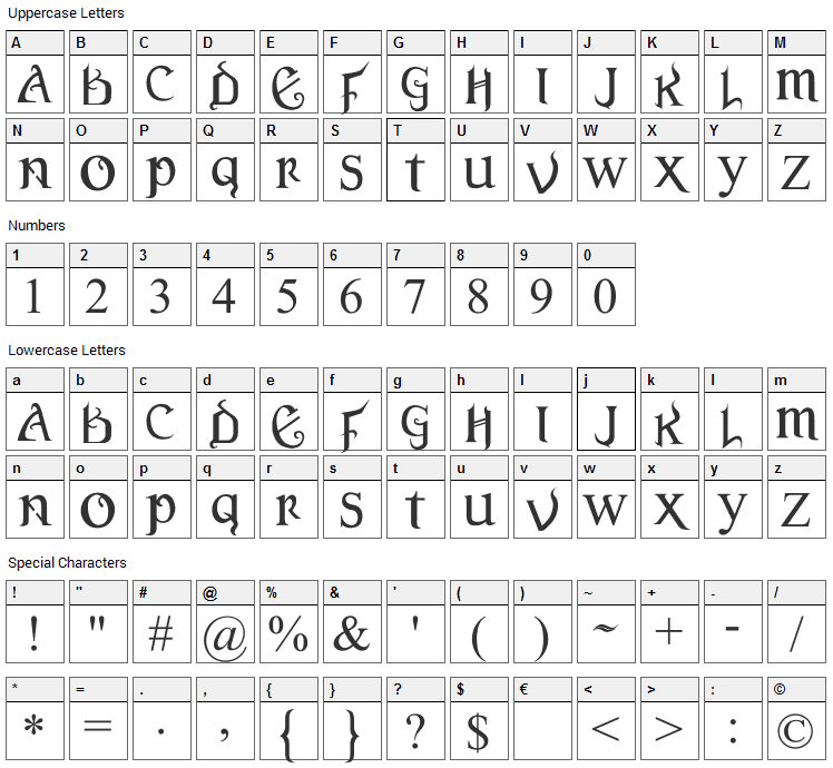 Versal Gothic Font Character Map
