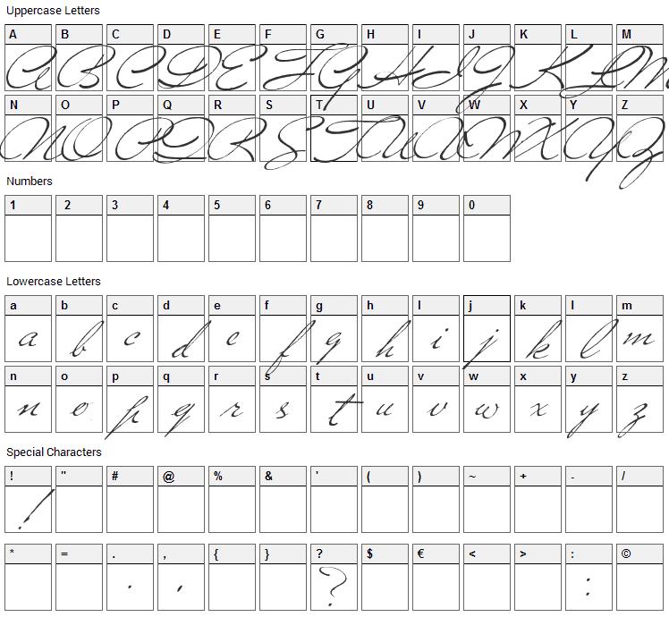 Versitia Font Character Map