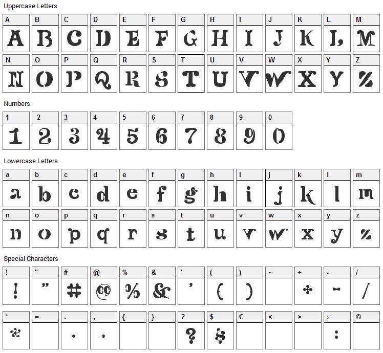 Versu Font Character Map