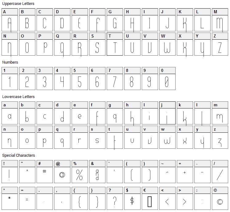 Verticalization Font Character Map