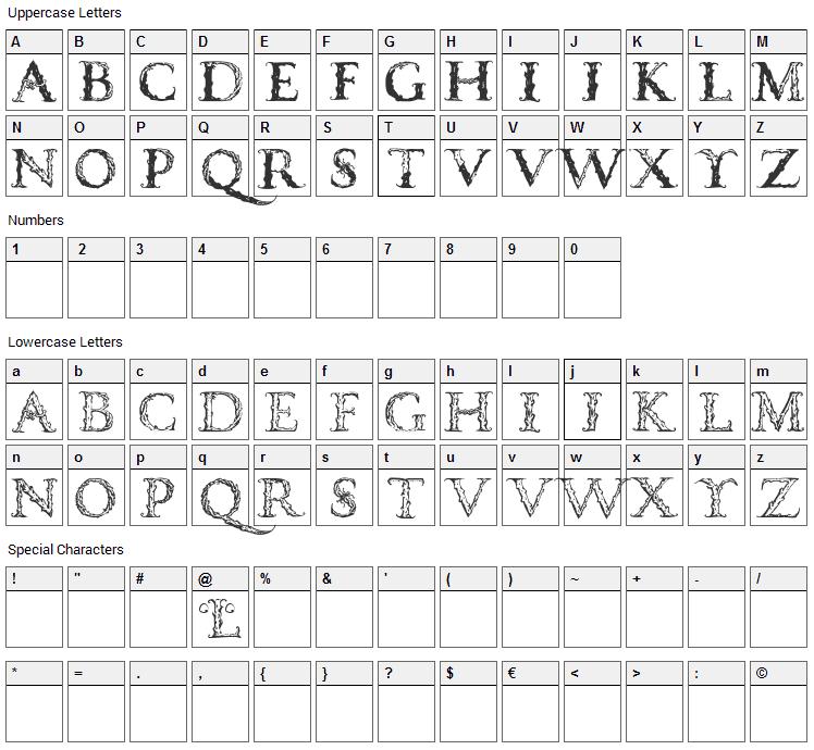 Vespasian Caps Font Character Map
