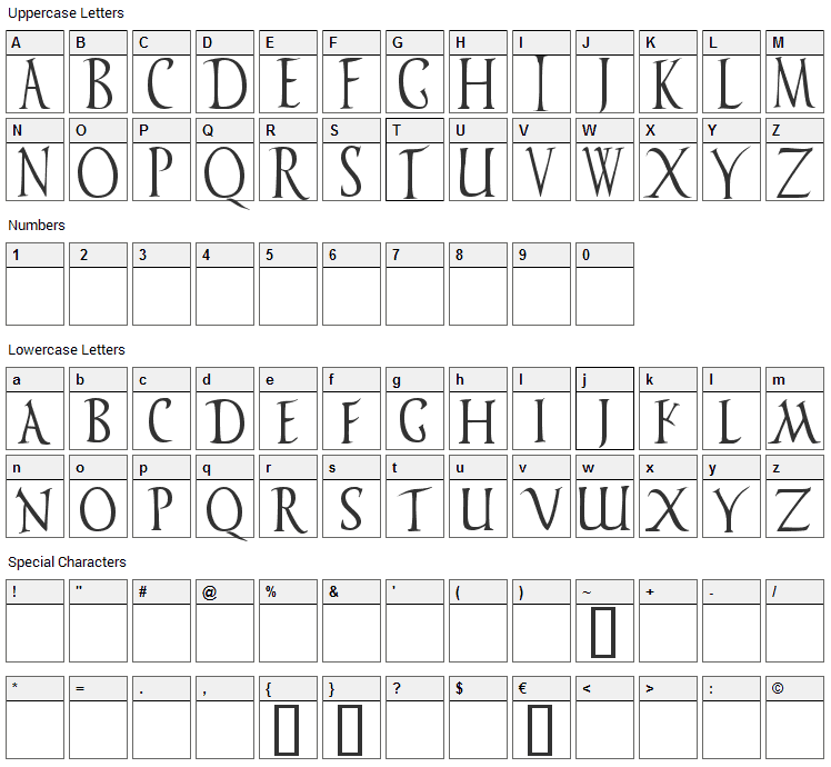 Vespasiano Font Character Map