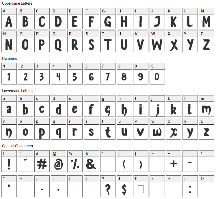 Vestite y Andate Font Character Map