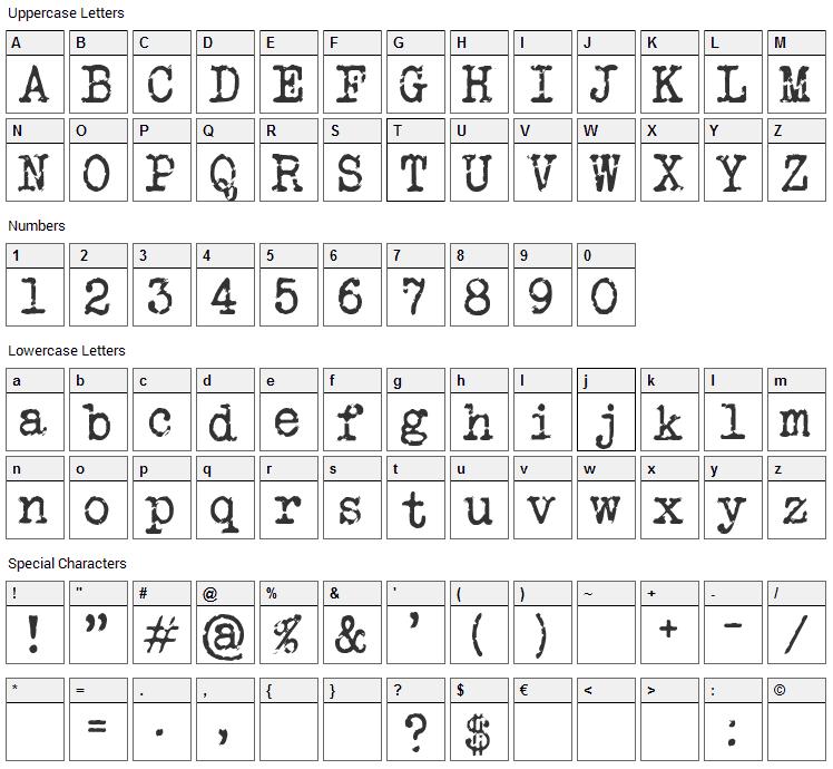 Veteran Typewriter Font Character Map