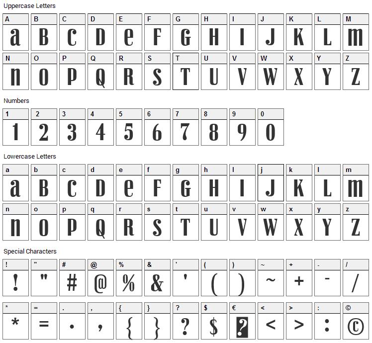 Vexler Slip Font Character Map