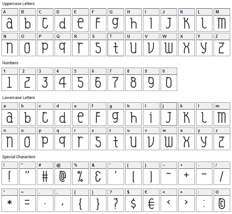 Veysel Font Character Map