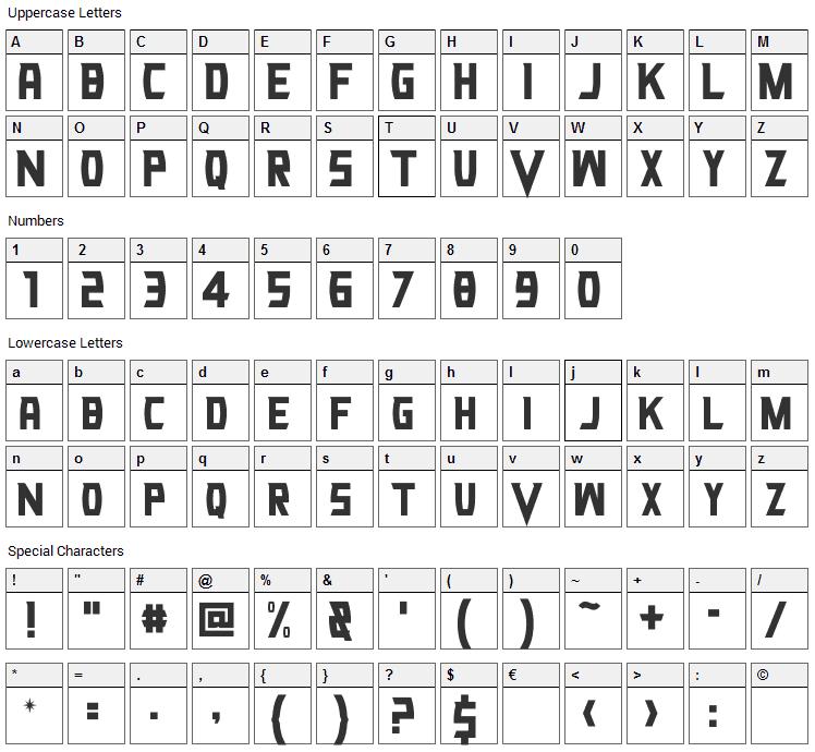 VG Knights Font Character Map