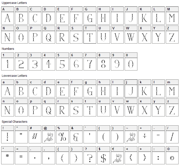 Via-A-Vis Font Character Map