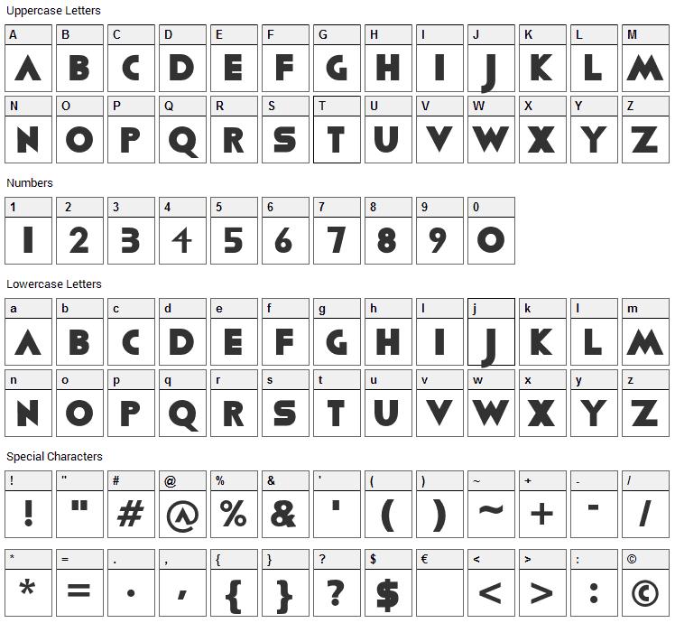 Viafont Font Character Map