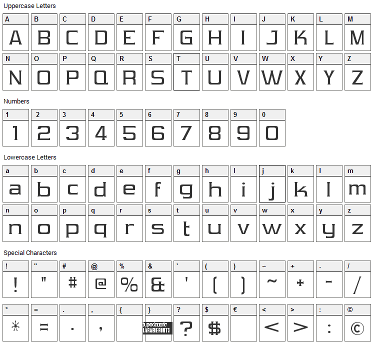 Vibrocentric Font Character Map