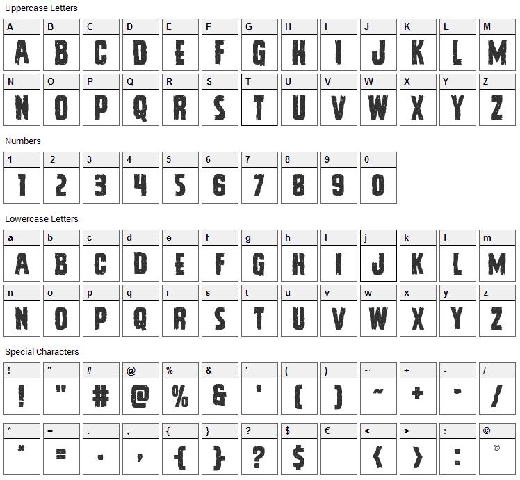 Vicious Hunger Font Character Map