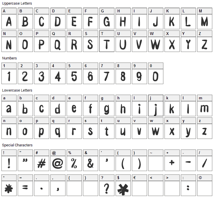 Victor Vector Font Character Map