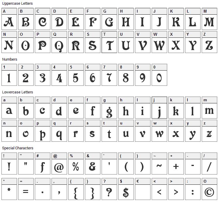 Victoria CAT Font Character Map