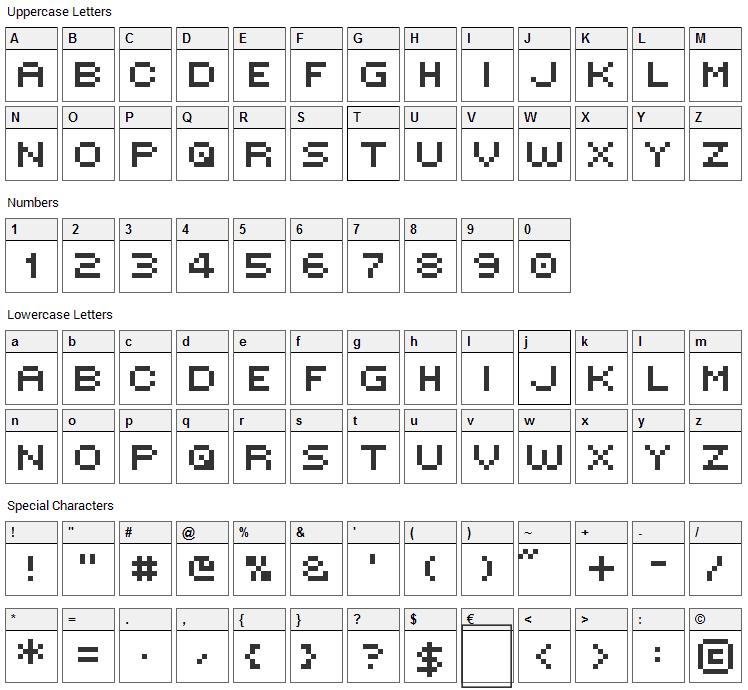 Victors Pixel Font Character Map