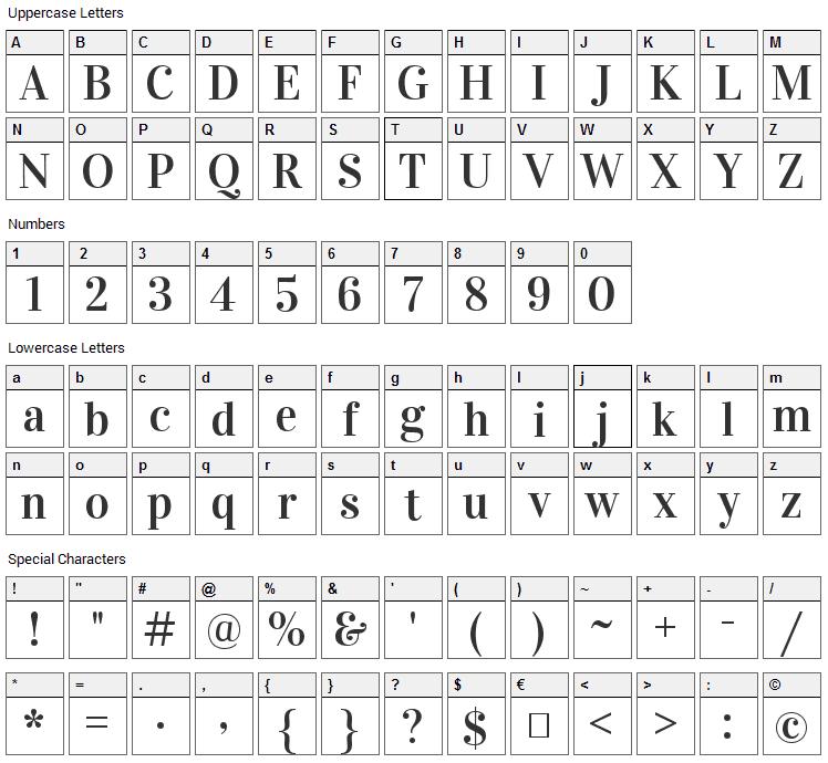 Vidaloka Font Character Map
