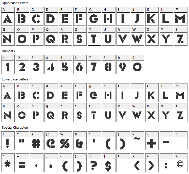 Videopac Font Character Map