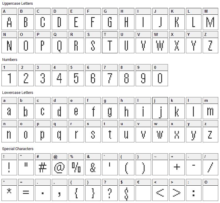 Vierzehn Font Character Map