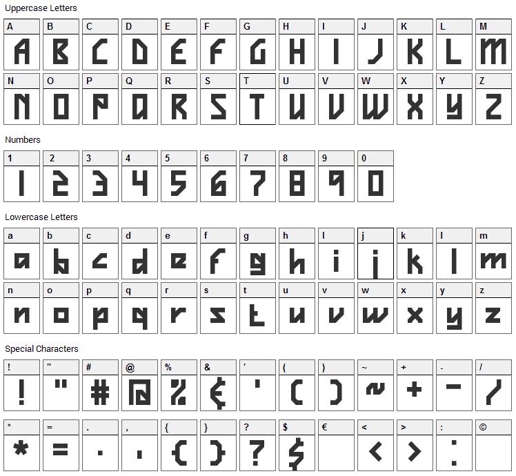 Vigilance Font Character Map