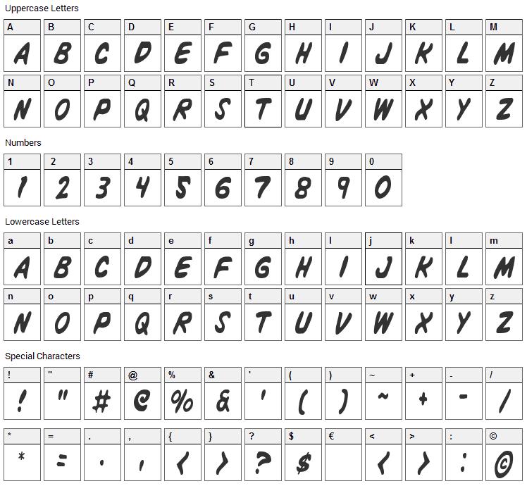 Vigilante Notes Font Character Map