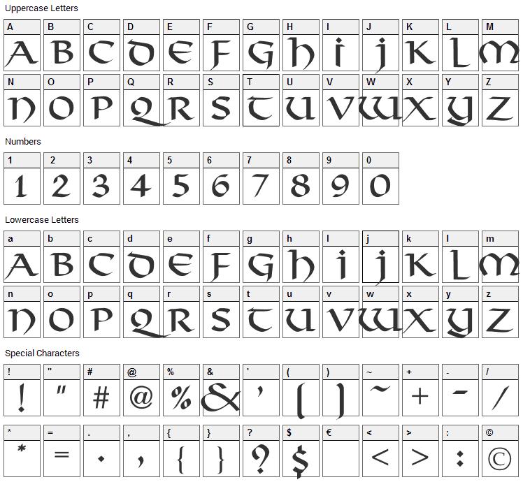 Viking Font Character Map