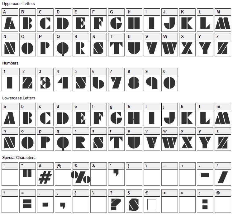 Viking Stencil Font Character Map