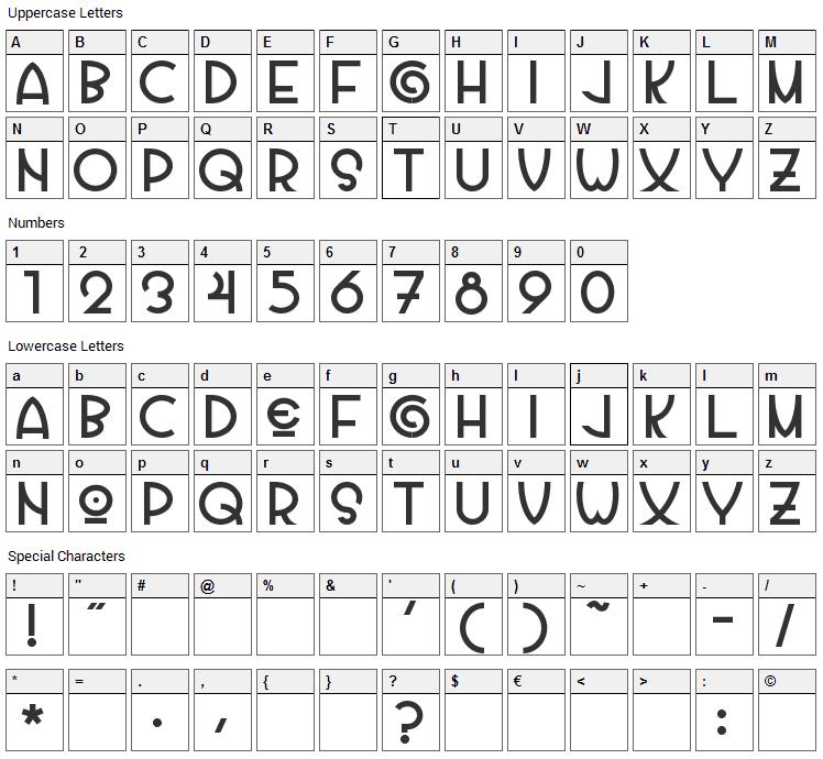 Vila Morena Font Character Map