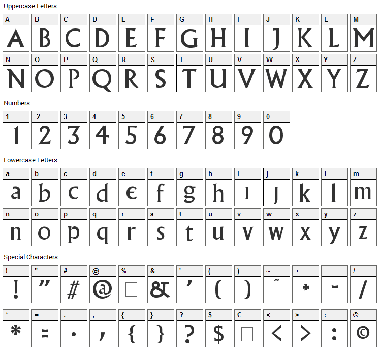 Village Font Character Map