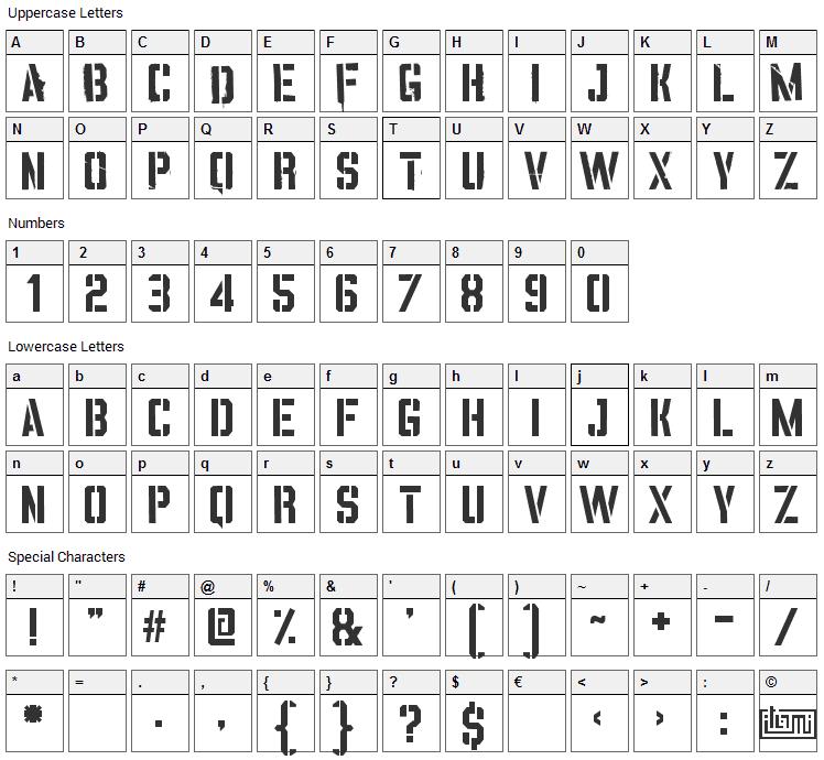 Vinca Stencil Font Character Map