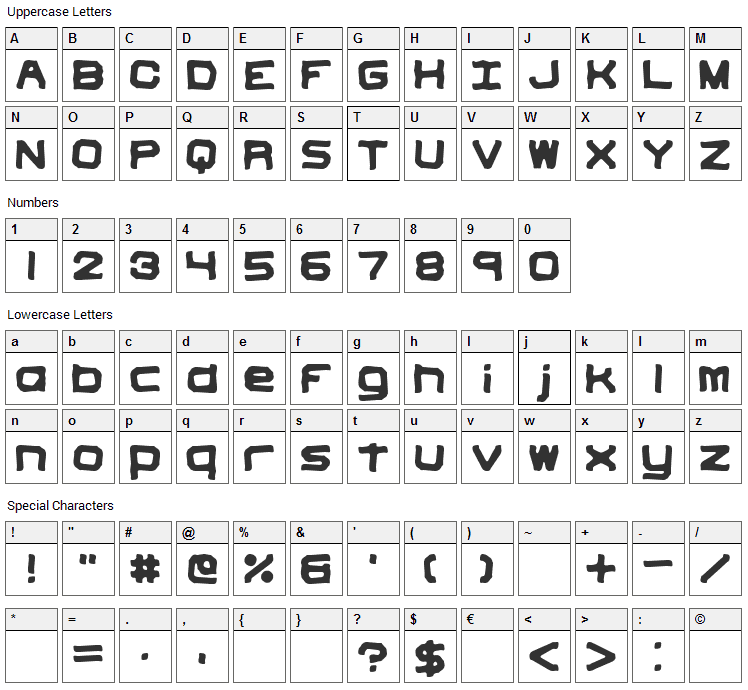 Vindictive Font Character Map