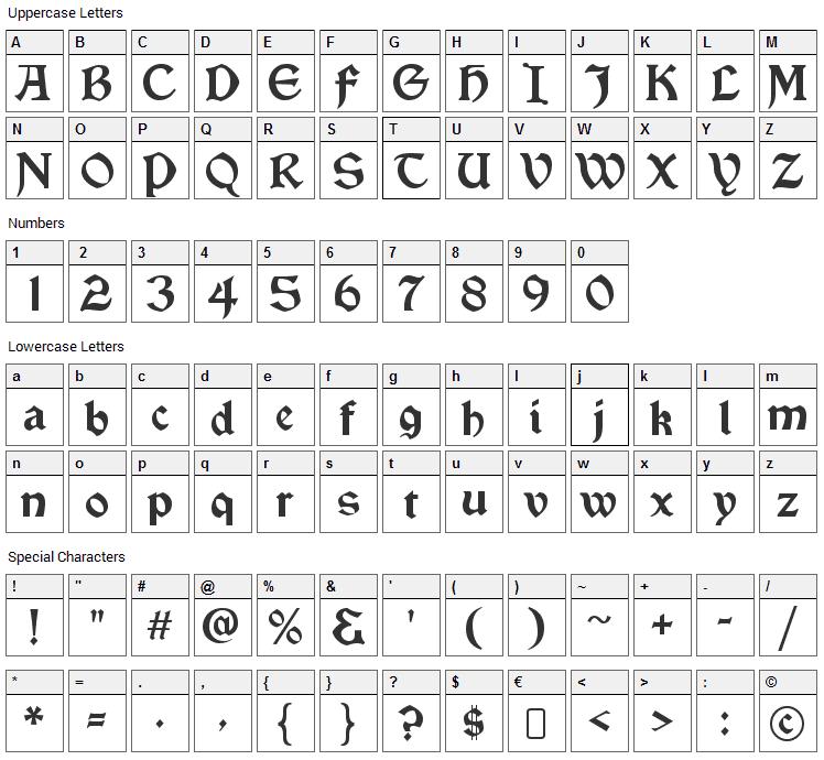 Vinque Font Character Map