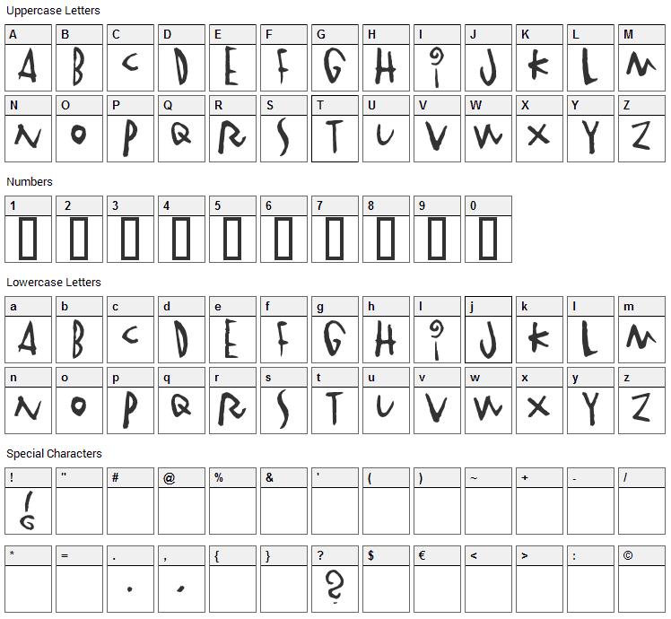Vinterstad Font Character Map