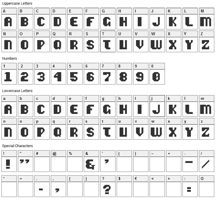 Vipond Octic Font Character Map