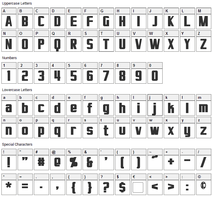 Virtucorp Font Character Map