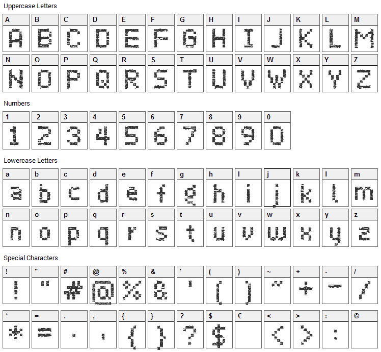 Virus 43 Font Character Map