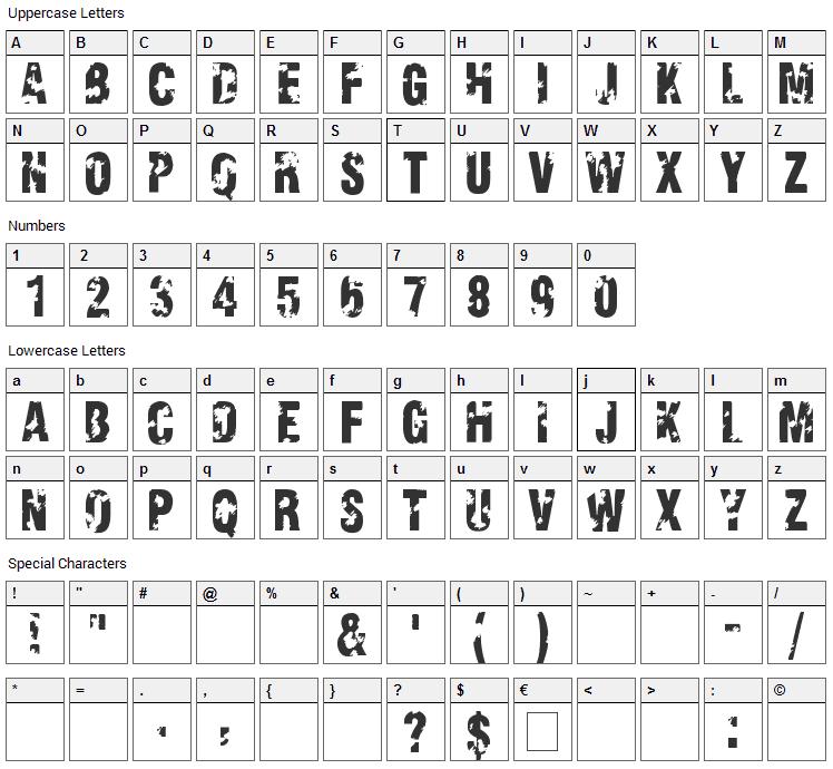 Viva Allende Font Character Map